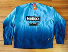 Nike FC AW77 Gradient Crewneck Sweatshirt Blue Mens Sz Large Soccer Box Logo NEW