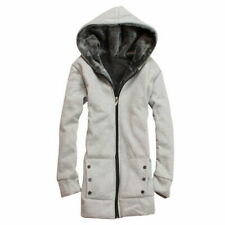 Women Casual Hooded Jacket Coat Jumper Zip Hoodie Sweatshirt light grey size L