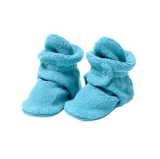 Fleece Baby Booties with 100% Organic Cotton Lining, 6 to 12 Months, Blue