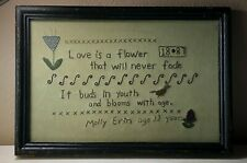 Contemporary Framed Stitch Sampler Primitive Style 1887 By Molly Erin 11 yrs