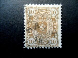 1881 Finland S# 27, 10 Pen brown Stamp, Used