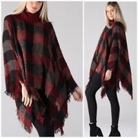 Red Check Plaid Turtleneck Poncho Knit Fringe Sweater Womens One Size