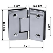 Scharnier Glasscharnier Glänzend 135° Edelstahl Halterung Duschkabine Duschtür