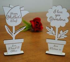 Personalised Gift for Her MDF Flower Present Mum Mummy Grandma Nanny Nan Gifts