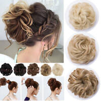 Real Natural Curly Messy Bun Hair Piece Scrunchie Thick Fake Hair Extension Hot