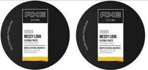 2x AXE Styling Urban Messy Look Flexible Paste Boost Texture Med Hold 2.64 oz