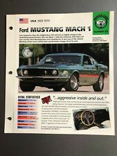 "1969 - 1970 Ford Mustang Mach 1 IMP ""Hot Cars"" Spec Sheet Folder Brochure L@@K"