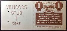 Ohio State Revenue 1 Cent Sales Tax Entire, Merrick Lithograph Co. Free Shipping