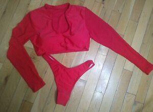 Bikini Set Swimsuit Long Sleeve Padded Swimwear Women Bathing Suit Thong SMALL