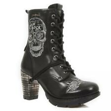 Boot Leder Frau Ferse Acero NEW ROCK Original Bestickt Totenkopf M.TR048-S1