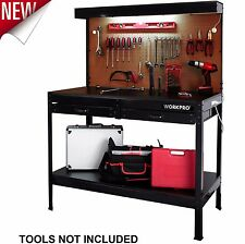 Workbench with Work Light Garage Bench Home Workshop Craftsman Tools Table Wood
