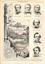 Suède Eglise & Tumulus d'Upsal Congrès d'Anthropologie Tombe d'Odin GRAVURE 1874