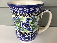 NEW C.A. Polish Pottery 16 oz Bistro Mug-Blue Rose