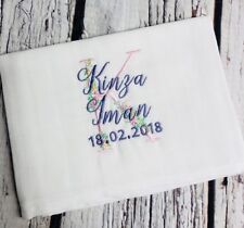PERSONALISED Baby Muslin Burp Cloth Boy Girl ANY NAME COLOUR Gift New Initial