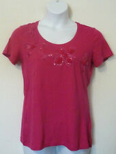 NEW Po Pori Hand Embellished Women's Short Sleeve T-Shirt Tee Top FUSCHIA L