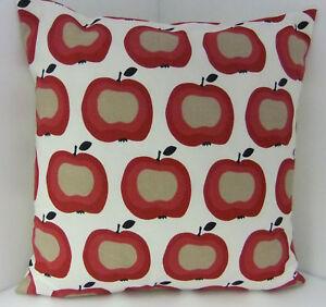 CUSHION COVERS RETRO BLACK BEIGE RED APPLE 60'S DESIGN BROWN BLACK FRUIT