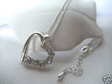 SILVER & DIAMANTÉ HOLLOW LOVE HEART PENDANT NECKLACE new in gift bag REDUCED !