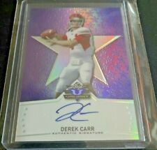 DEREK CARR 🔥 2014 Leaf Valiant PURPLE PRIZM HOLO On Card RC AUTO SSP #d 6/25