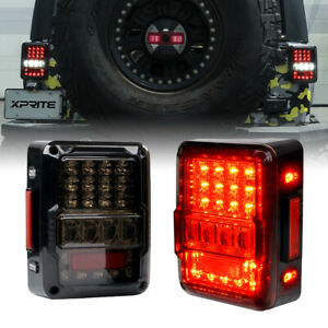 Xprite LED Tail Light Rear Turn Signal Reverse Smoked For 07-18 Jeep Wrangler JK