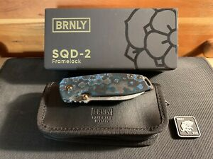"""FREE SHIPPING BRNLY SQD-2 knife Bifrost Damasteel-""""Arctic Storm"""" Fat Carbon Sca."""