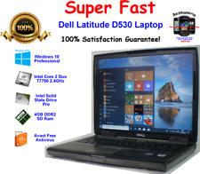 "Dell Latitude D530 Laptop Win 10 Pro 15"" 2.4GHz 4GB RAM 120GB SSD Office 2019"