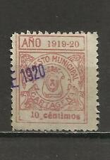 8101-SELLO FISCAL LOCAL CARTAGENA MURCIA AÑO 1919-1920 IMPUESTO MUNICIPAL 10 CTS