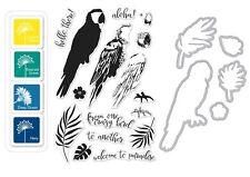 "Hero Arts ""PARROT"" Clear Stamps + Frame Cuts Dies + Mini Ink Pad Set Bundle"