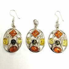 STUNNING ART NOUVEAU STYLE MIXED AMBER SET PENDANT EARRINGS STERLING SILVER 925