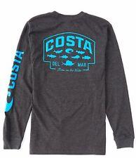 40% Off Costa Sp Badge Long Sleeve T-shirt- Dark Heather- Pick Size-Free Ship