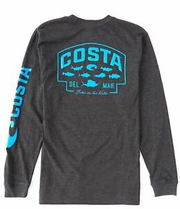 40% Off Costa SP Badge Long Sleeve T-shirt- Dark Heather- Pick Size-Free Ship