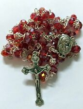 Jerusalem Holy Earth Soil Red Glass Crystal Beads Rosary Israel Church Jesus