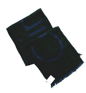Calvin Klein Men's Scarf Reversible Woven Twill Large Logo, Blue/Black, $55