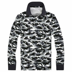 Military Training Men Polo Shirt Camouflage Army Top Long Sleeve Oversized Multi