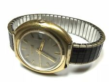 Vintage Antique BENRUS Gold Plate Mens Wrist Watch - Unique Design & Solid!