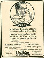 Publicité ancienne lames de rasoir Gillette 1918 issue de magazine
