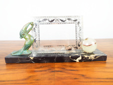 Antique Art Deco Photo Frame Marble Gold Glass Bronze Toucan French Decor 1920s