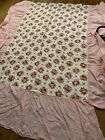 40s+vtg+Twin+Dusty+Pink+Floral+Quilted+Bed+Spread+With+Dust+Ruffle+80x95
