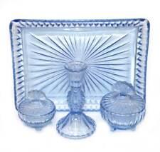 Vintage blue depression glass art deco dressing table vanity set