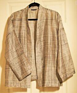 Eileen Fisher Silver Kimono Jacket Coat Top