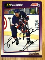 1991 Score #260 PAT LaFONTAINE Hand Signed Autographed Card New York Islanders