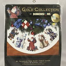 NEW Dimensions St Nicholas Gold Collection Tree Skirt 8692 Cross Stitch Kit 2002