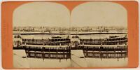 Il Havre Avant Port Francia Foto Stereo PL53L3n30 Vintage Albumina c1870