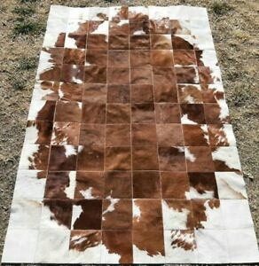NEW COWHIDE PATCHWORK CARPET AREA RUG Cow hide BROWN & WHITE 4ft x 6ft