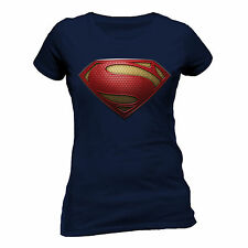 Superman Man of Steel - Textured Logo SKINNY Navy Large Tshirt