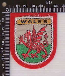 VINTAGE WALES UK EMBROIDERED SOUVENIR FELT PATCH WOVEN CLOTH SEW-ON BADGE