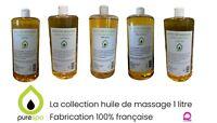 PURESPA Huile de massage végétale, modelage , 1 LITRE , 7 Parfums FAIT EN FRANCE