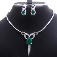 Green Cubic Zirconia 925 Sterling silver Necklace Earring Wedding Jewelry Set