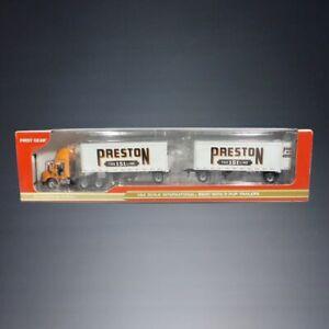 💥NIB 2005 FIRST GEAR PRESTON 1:64 SCALE INTERNATIONAL 8600 WITH PUP TRAILERS