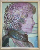 Brigitte Tietze Berlin Expressives Ölgemälde Portrait Frau Kopf 42 x 34 cm