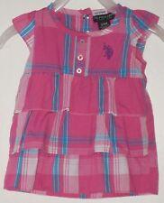 U.S. POLO ASSN. Size 3-6 Months Pink Striped Flutter Sleeves Dress